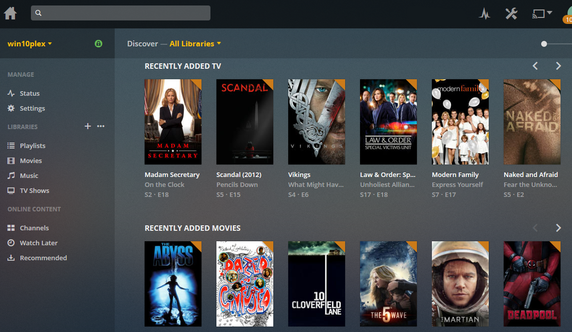 Example of the Plex Dashboard